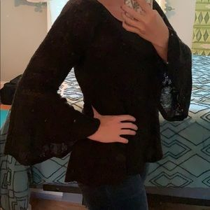 Jessica Simpson Black Bell Long Sleeve Top